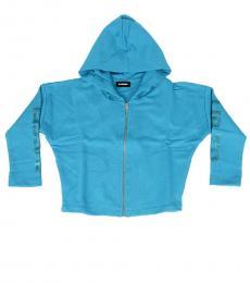Girls Blue Front Zip Hoodie