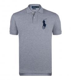 Ralph Lauren Grey Custom Fit Cotton Mesh Polo