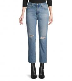 AG Adriano Goldschmied Blue High-Rise Straight-Fit Jeans