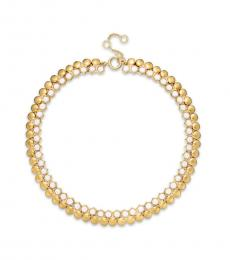 Gold Hexagon Pebble Collar Necklace