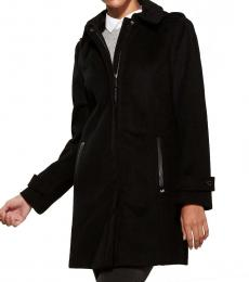 Black Faux Leather Trim Walker Coat