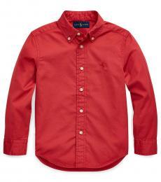 Ralph Lauren Little Boys Nantucket Red Garment-Dyed Twill Shirt