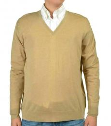 Beige Wool V-Neck Sweater