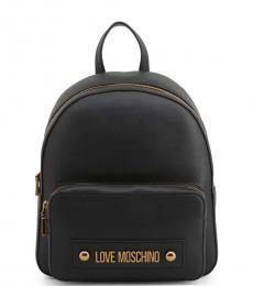 Black Solid Medium Backpack
