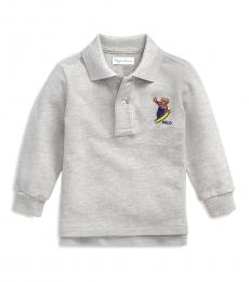 Ralph Lauren Baby Boys Grey Snowboard Bear Polo