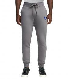 Grey Slim Cuff Horseshoe Logo Joggers