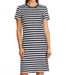 Lauren Navy Sequined Nautical Shift Dress