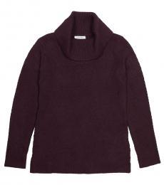 Purple Cowl Neck Knit Sweater