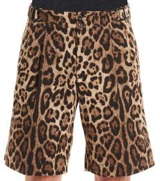 Dolce & Gabbana Brown Animal Print Shorts
