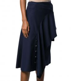 Navy Blue Wool Blend Asymmetric Draped Skirt