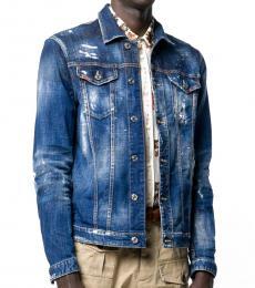 Dsquared2 Blue Paint Splatter Denim Jacket