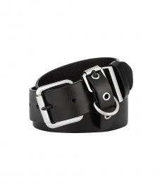 Black-Silver Flat-Strap Multi-Loop Leather Belt