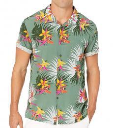 Green Floral Short Sleeve Shirt