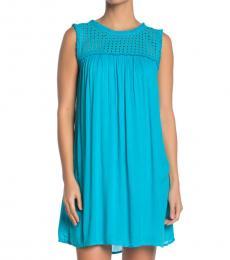 Aqua Cerul Eyelet Yoke Cover-Up Dress
