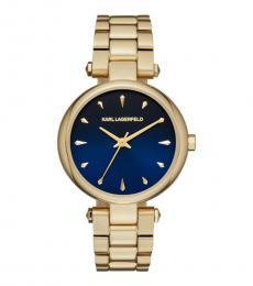 Karl Lagerfeld Gold Aurelie Blue Dial Watch