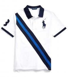 Ralph Lauren Boys White Big Pony Banner Polo
