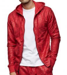Red Allover Print Zip Hoodie