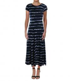 Ralph Lauren Navy Multi Stripe Midi Casual Shirtdress