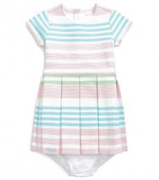Ralph Lauren Baby Girls White Multi Striped Knit Dress