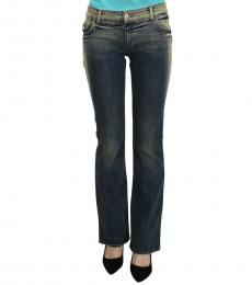Just Cavalli Blue Washed Low-Rise Flared Denim Jeans