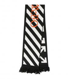 Off-White Black-White Logo Stripe Scarf
