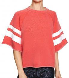 Coral Striped Roll Hem Sweatshirt