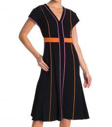 Diane Von Furstenberg Black Davina Striped Midi Dress
