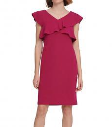 DKNY New Berry Crisscross Ruffle Sheath Dress