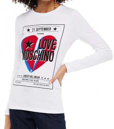 Love Moschino White Crystal-Embellished Jersey Top