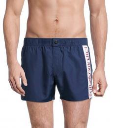 Emporio Armani Navy Blue Side Logo Swim Shorts