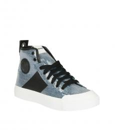 Diesel Blue Fabric Sequined S-ASTICO Sneakers