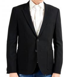 Black Wool Two Button Blazer
