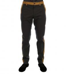 Dolce & Gabbana Grey Cotton Yellow Pants