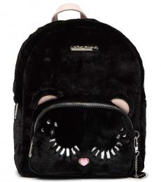 Betsey Johnson Black Fuzzy Large Backpack