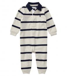 Baby Boys Grey Striped Rugby Coverall