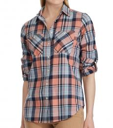 Pink Plaid Cotton Twill Shirt