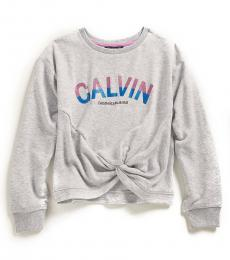 Calvin Klein Girls Grey Twisted Front Sweatshirt