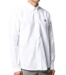 Kenzo White Cotton Tiger Embroidered Shirt