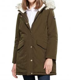 Olive Faux Fur-Trimmed Hooded Anorak