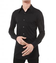 Black Slim-Fit Cotton Silk Jersey Shirt