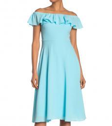 Betsey Johnson Aqua OffShoulder Pebble Crepe Dress