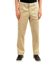 Beige Solid Casual Pants