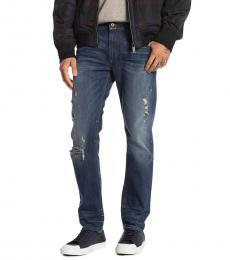 Dark Blue Thavar Distressed Slim Jeans