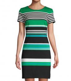 Green Striped Sheath Dress