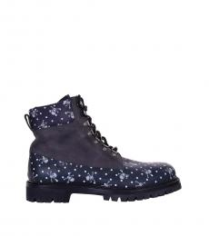 Blue Skull Printed Ankle Boots