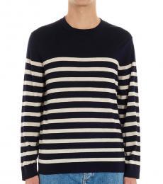 Brunello Cucinelli Navy Blue Striped Pullover Sweater