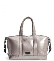 Rebecca Minkoff Silver Puffy Nylon Large Weekend Bag