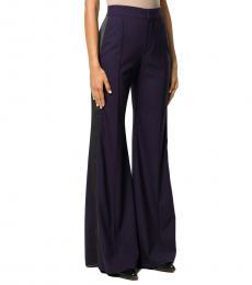 Navy Blue Wool Wide Leg Trousers