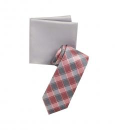 Rose Double Track Check Tie & Pocket Square Set