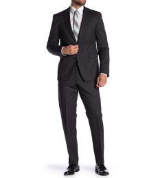 Vince Camuto Black Plaid Slim Fit 2-Piece Suit